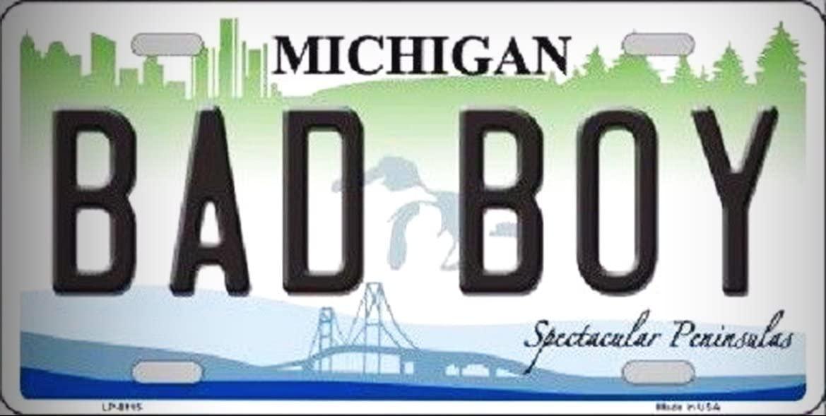 Bad Boy Michigan Metal Novelty License Platefor Home/Man Cave Decor by PrettyMerchant