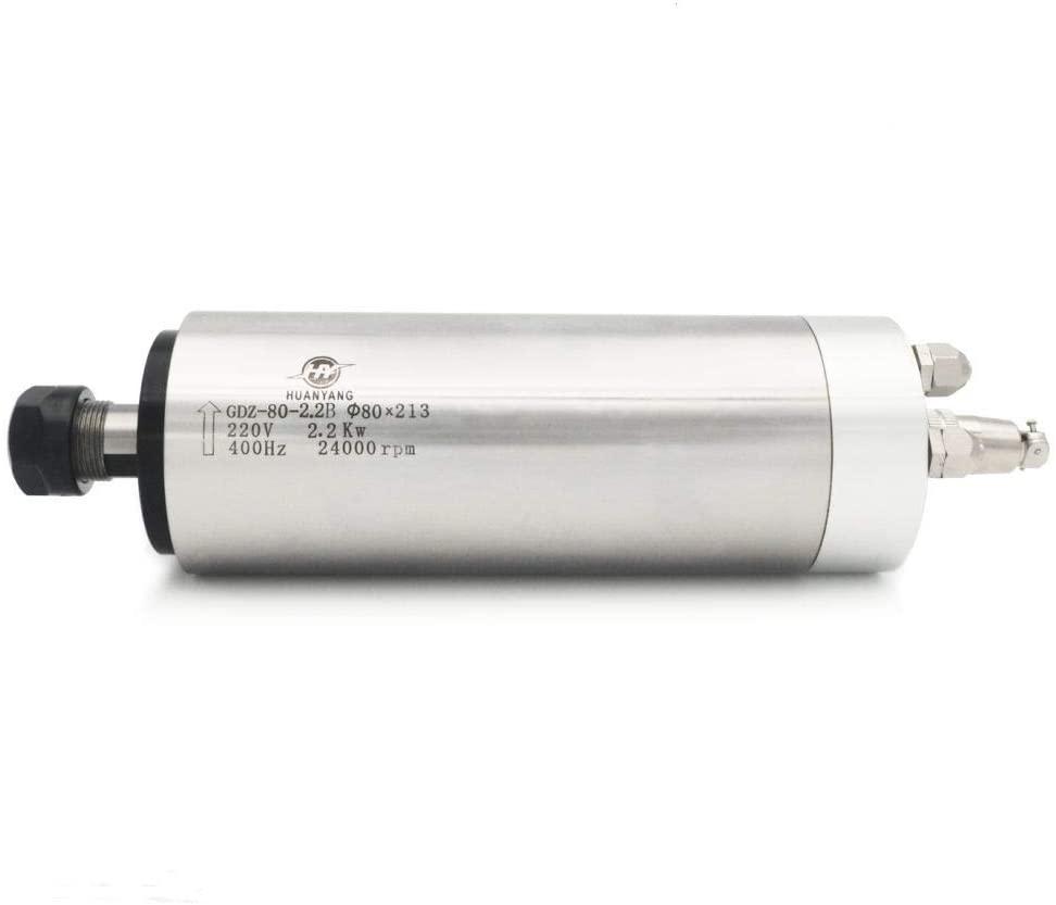 Water Cooled CNC Spindle Milling Motor 220V 2.2KW 24000RPM 400hz ER20 Collet HUANYANG CNC VFD Motor Factory Direct Sales