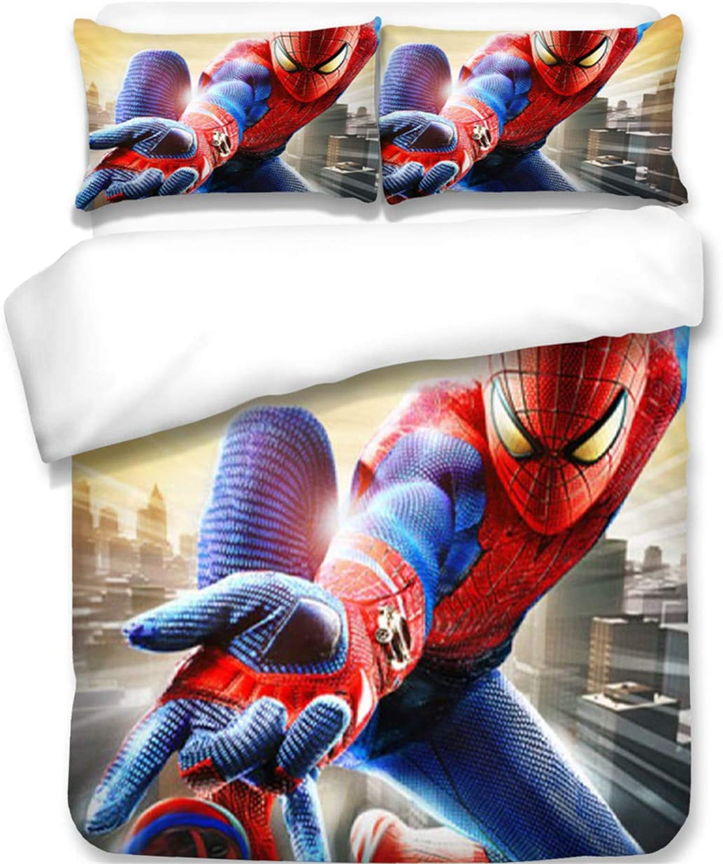 AXIONG 3D Spider-Man Bedding Marvel Superhero Duvet Cover Set for Teen and Kids Bed Bedding Adult Student Duvet Cover Set 3 PCS 1 Duvet Cover 2 Pillowcases King Queen Full Twin Size