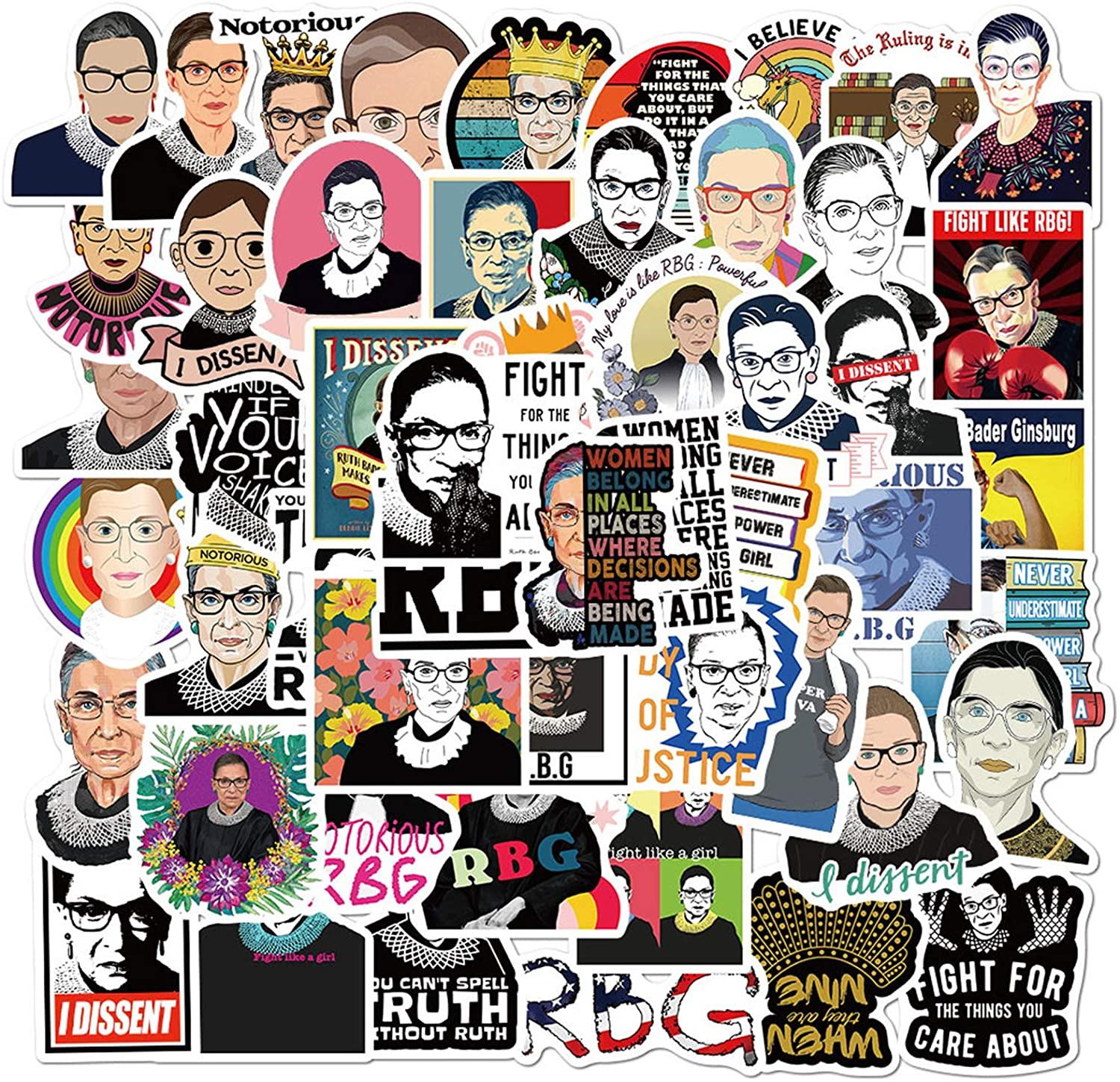 52pcs Ruth Bader Ginsburg Vinyls Stickers Laptop Sticker Waterproof Stickers Luggage Skateboard Water Bottle Stickers Decal Bicycle Bumper Snowboard Decorate Gift for Kid. /Ginsburg