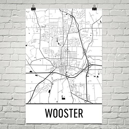 Wooster Ohio Map, Wooster Art, Wooster Print, Wooster Poster, Wooster Wall Art, Wooster Gift, Map of Ohio, Ohio Poster, Ohio Decor, State Poster 24
