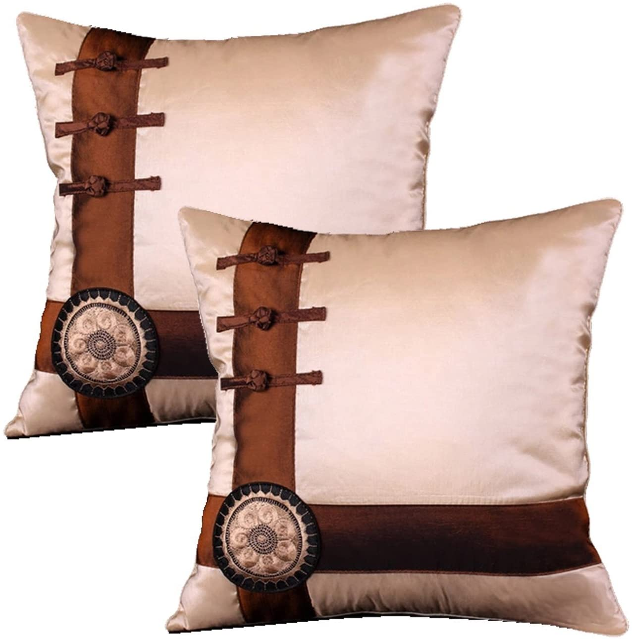 Queenie - 2 Pcs Silky Decorative Embroidered Chinese/oriental Pillowcase Series II Cushion Cover for Sofa Throw Pillow Case 16 X 16 Inch 40 X 40 Cm (Cross with Chinese Knots Color Ivory)