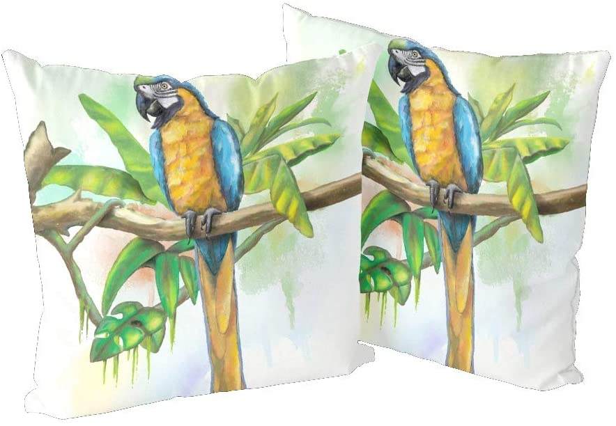 CUXWEOT Pillow Covers Pillowcases 18x18 Set of 2 Pillow Cases Protector for Home Couch Sofa Bedding Decorative Blue and Gold Macaw