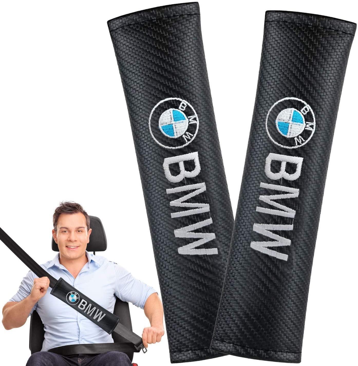 2 Pcs Car Seat Belt Shoulder Pads with BMW Logo Embroidered, Car Seat Belt Covers Black Carbon Fiber Leather Shoulder Pads, Universal Car Decoration Accessories Fit for BMW