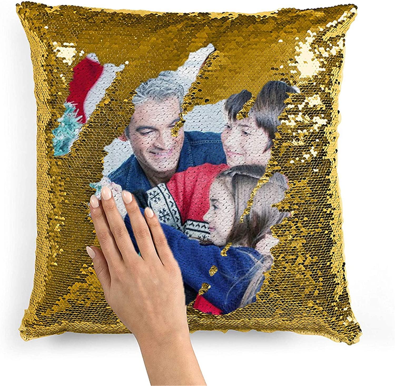 Quality.A Custom Photo Pillowspersonalized Throw Pillowsmagic Reversible Throw Pillow Mermaid Sequin Pillow Christmas Anniversary for Women(Pillowcase Golden Single-Sided)