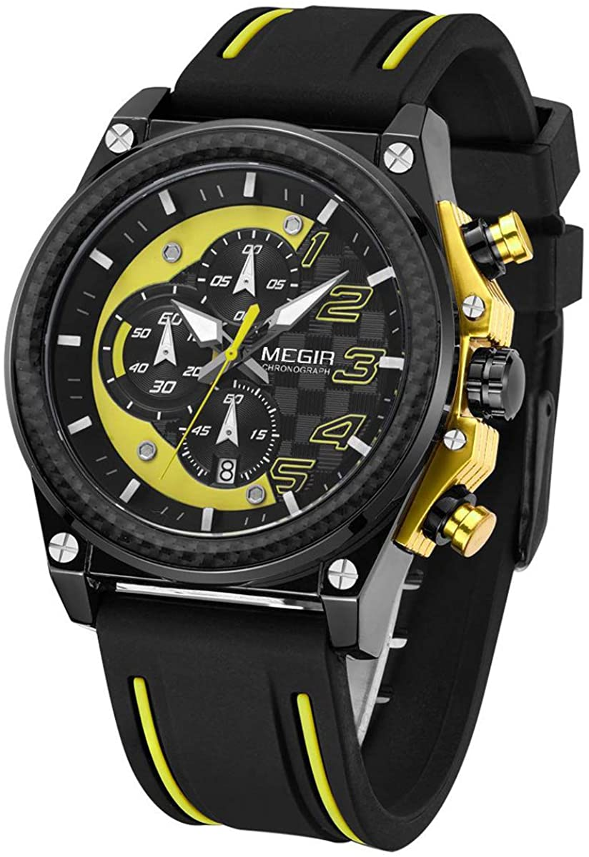 MEGIR Men's Army Military Chronograph Luminous Quartz Watch with Silicone Band