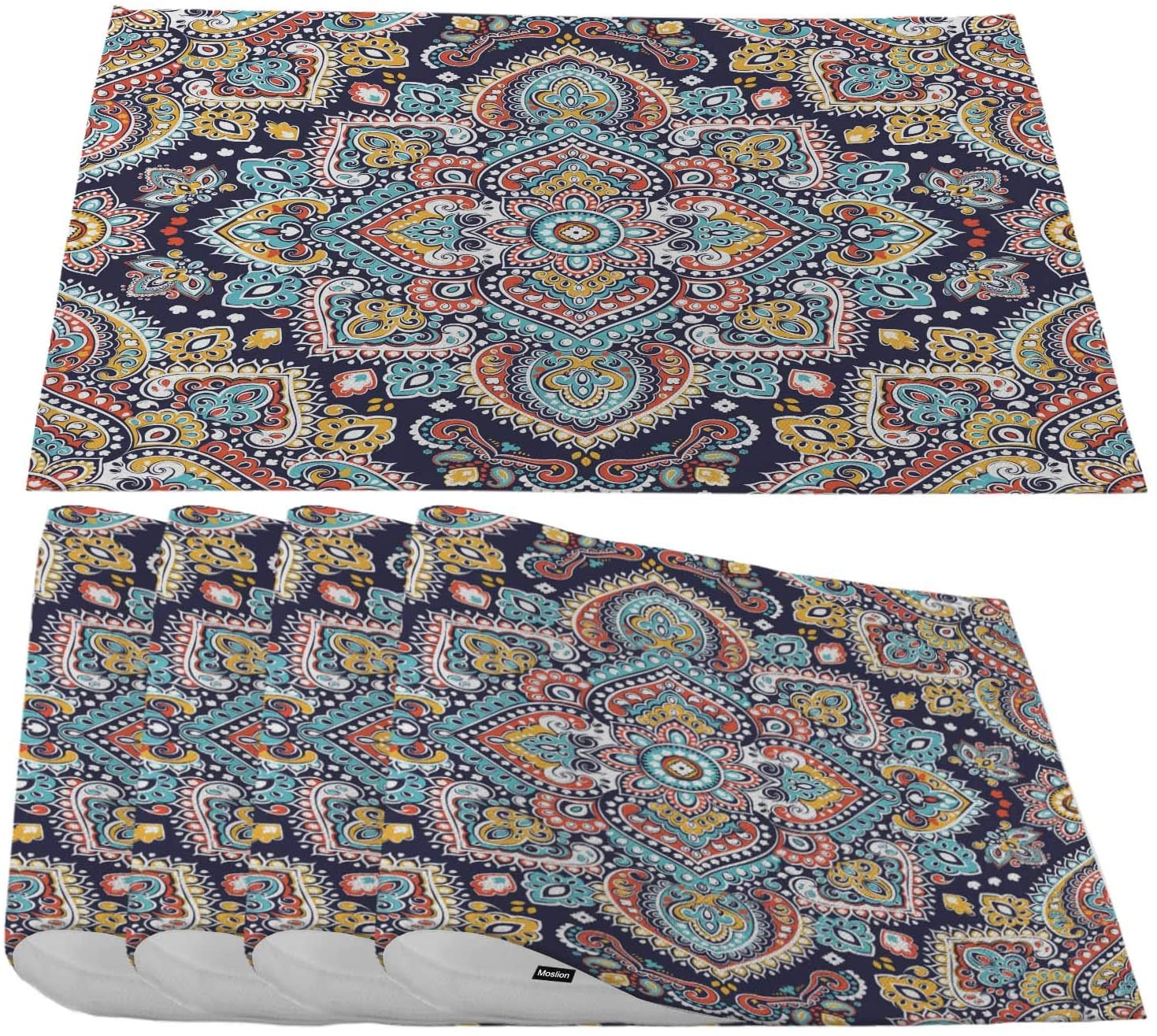 Moslion Paisley Medallion Placemats,Indian Floral Ethnic Mandala Ornament Henna Tattoo Style Place Mats for Dining Table/Kitchen Table,Waterproof Non-Slip Washable Outdoor Dinner Table Mats,Set of 4