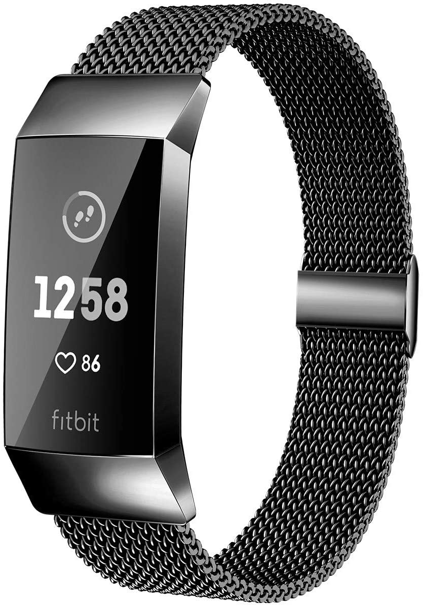 MioHHR Metal Bands Compatible with Fitbit Charge 3 / Charge 4 Bands for Women Men, Breathable Stainless Steel Replacement Wristband Accessories for Charge 3 SE Fitness Activity Tracker, Black