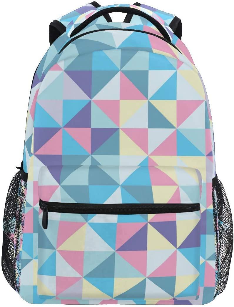 Qilmy Triangle School Daypack Camping Notebooks Hiking School Backpack for Boys Girls Men Women