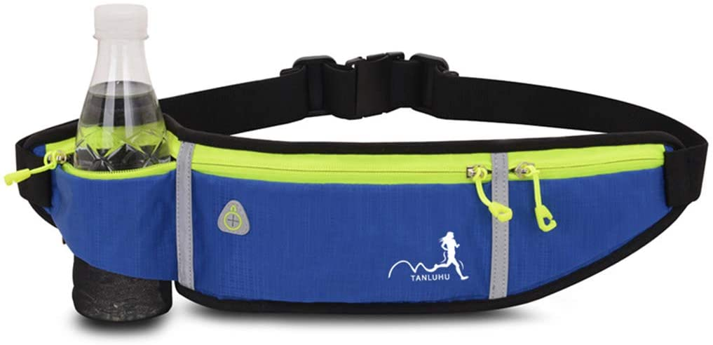 QINREN Sport Belt Waist Pack Pouch Water Bottle Holder Bag for Jogging Hiking Running,Navy Blue,Nylon
