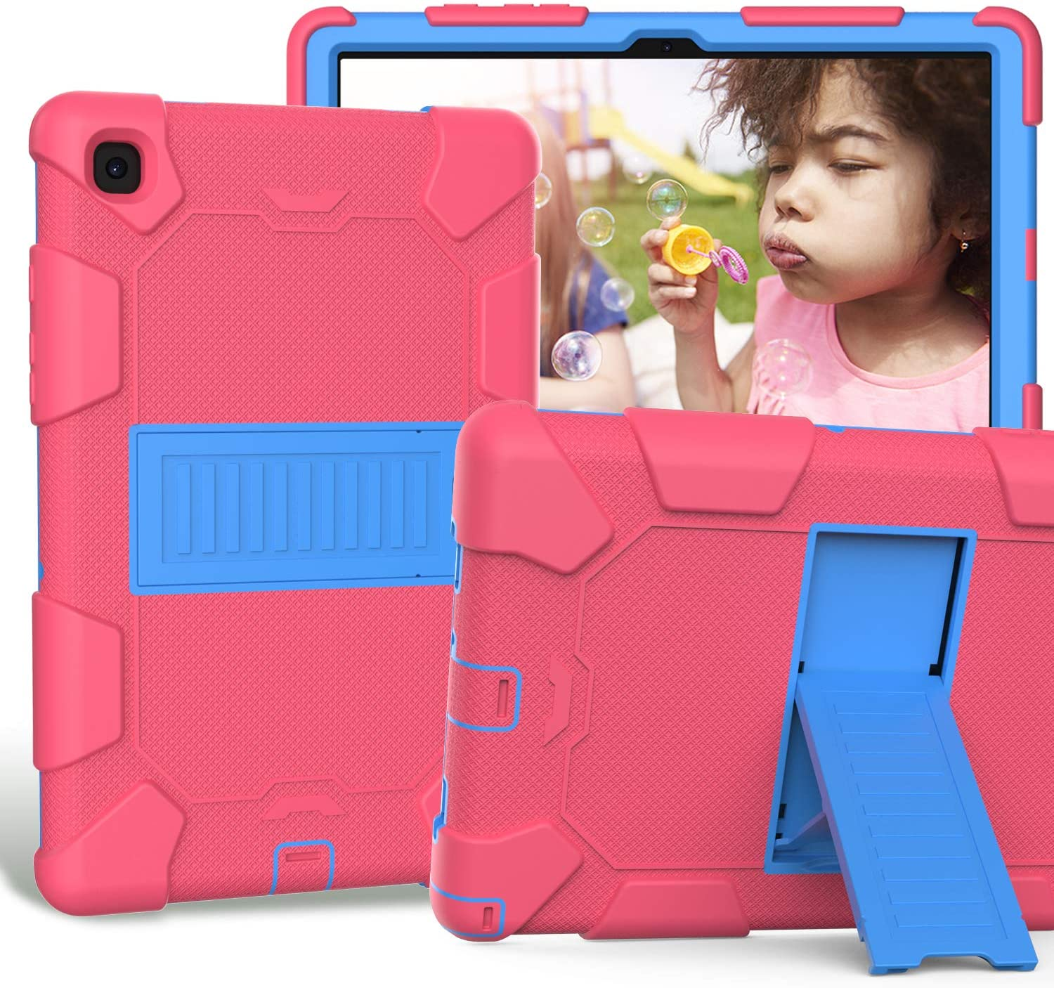 Case for Samsung Galaxy Tab A 7.0 (10.4-inch, 2020 Release), CASZONE 3 Layer Heavy Duty Rugged Shockproof Anti-Slip Silicone Protective Cover with Folding Kickstand for Kids/Students - Rosy+Blue