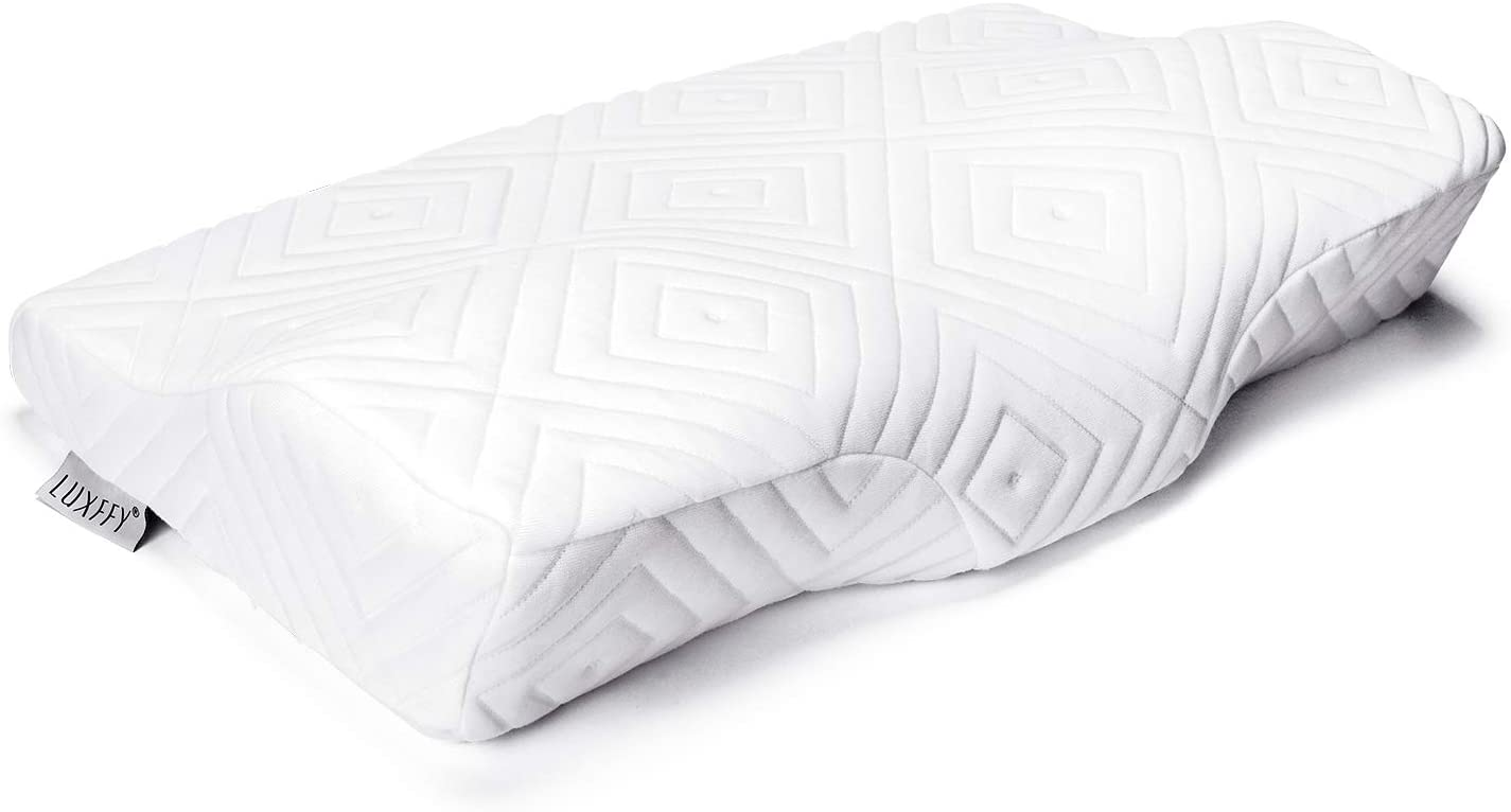 LUXFFY Contour Memory Foam Pillow Orthopedic Sleeping Pillows, Pillows for Sleeping, Ergonomic Cervical Pillow for Neck Pain - Orthopedic Contour Pillow for Side Sleepers, Back and Stomach Sleepers
