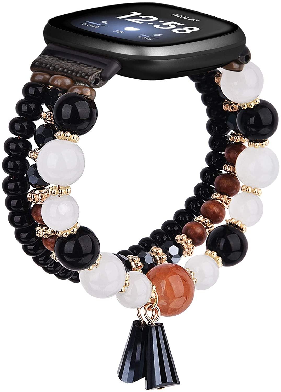 MOFREE Bracelet Compatible for Fitbit Versa 3 Band/Fitbit Sense Bands, Handmade Fashion Elastic Beaded Strap Bracelet Replacement Compatible for Versa Bands Women Girl Black