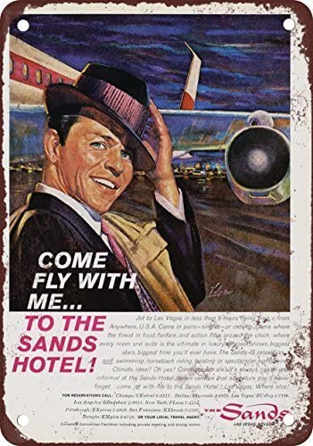 1961 Frank Sinatra for The Sands Hotel Las Vegas Vintage Look Metal Sign Wall Decoration Garage Shop bar Living Room Wall Art tin Sign 8X12 Inches
