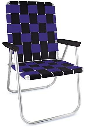 Lawn Chair USA Folding Aluminum Webbing Chair (Classic, Black//Purple)