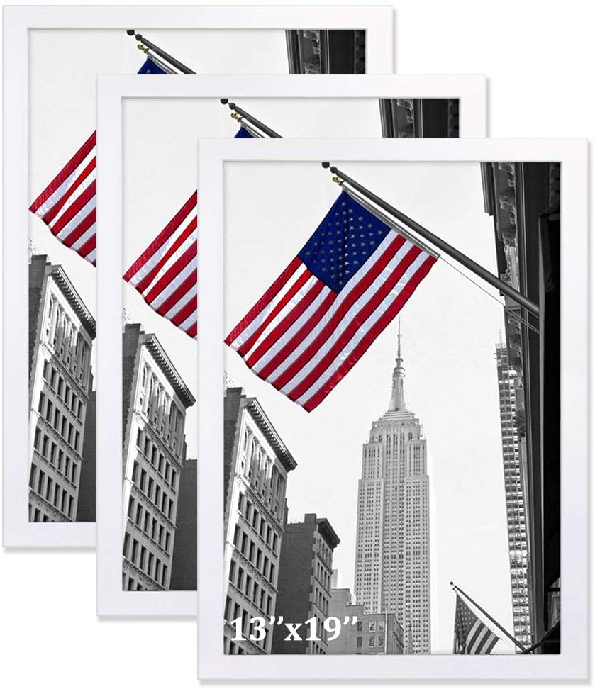 IGxx 13x19 Frame White Poster Frame Pine Wood Wall Display Gallery Picture Frame for 13 by 19 Print, Set of 3