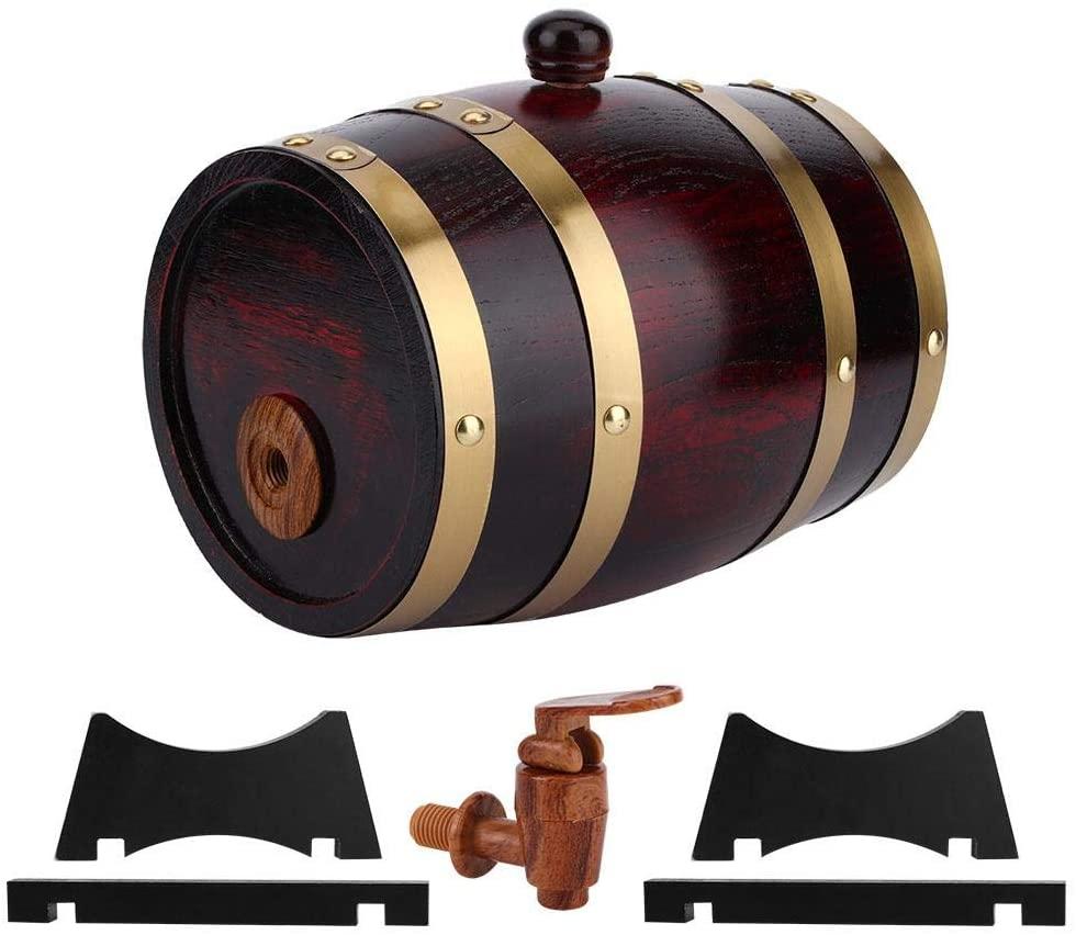 Wine Barrel, Vintage Oak Wooden Wine Barrel Keg Bucket Brewing Accessories for Home Use 1.5L