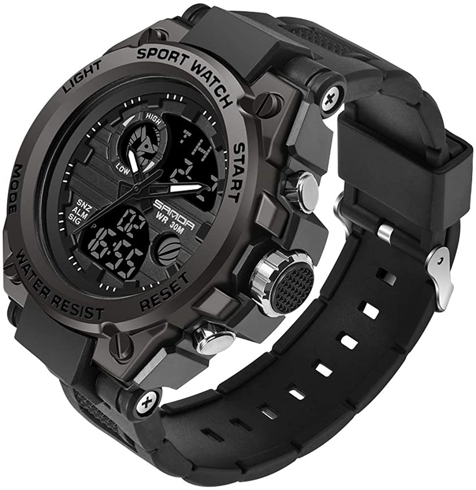 KXAITO Men's Watches Sports Outdoor Waterproof Military Watch Date Multi Function Tactics LED Alarm Stopwatch
