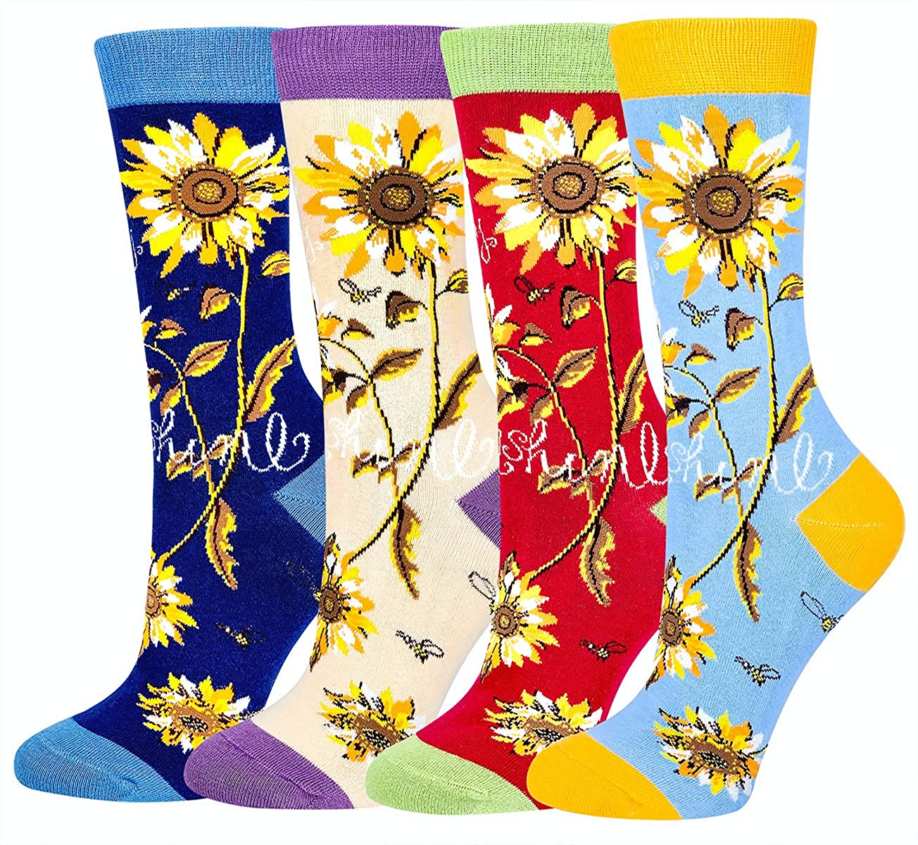 Women Girls Novelty Funny Sunflower Crew Socks, Funky Floral Socks Christmas