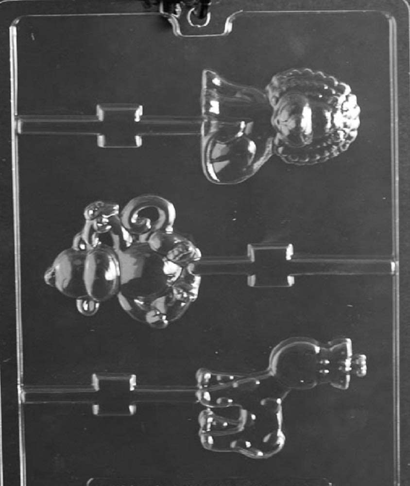 Grandmama's Goodies A151 Monkey, Giraffe, Lion Lollipop Chocolate Candy Soap Mold with Exclusive Molding Instructions
