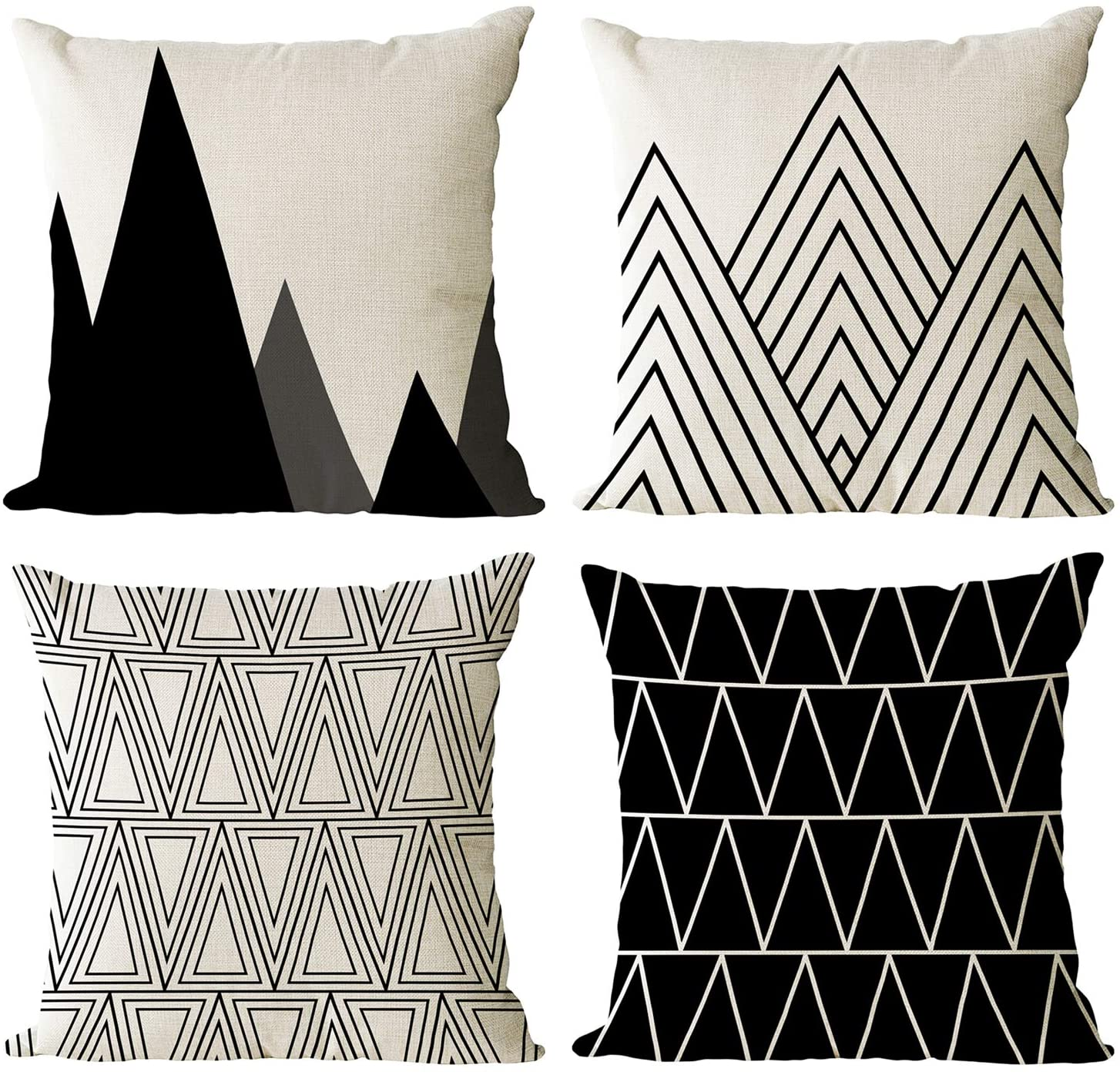 YeeJu Set of 4 Geometric Black and White Decorative Throw Pillow Covers Cotton Linen Square Cushion Covers Outdoor Couch Sofa Home Pillow Cases 22x22 Inch