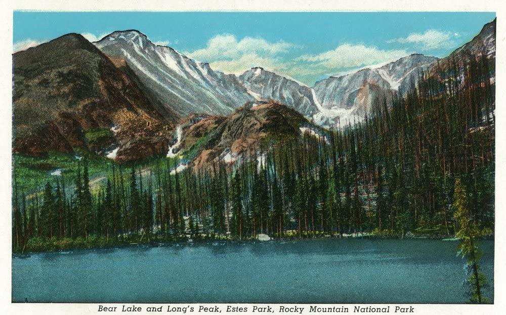 Estes Park, Colorado - View of Bear Lake and Longs Peak - Vintage Halftone (12x18 Art Print, Wall Decor Travel Poster)