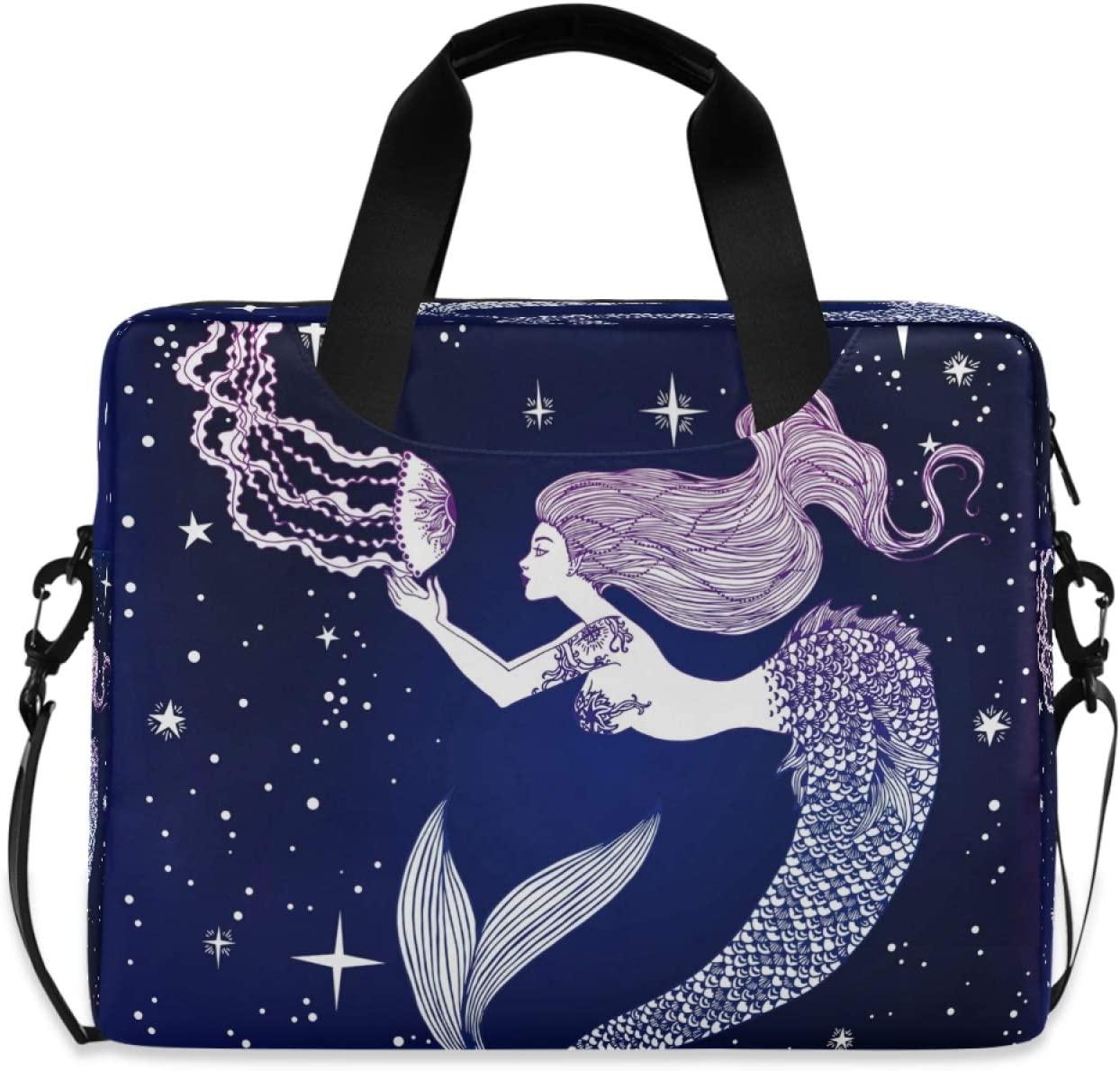 Yulife Sea Mermaid Jellyfish Laptop Bag Sleeve Case for Women Men Starry Briefcase Tablet Messenger Shoulder Bag with Strap Notebook Computer Case 14 15.6 16 Inch for Kids Girls Business