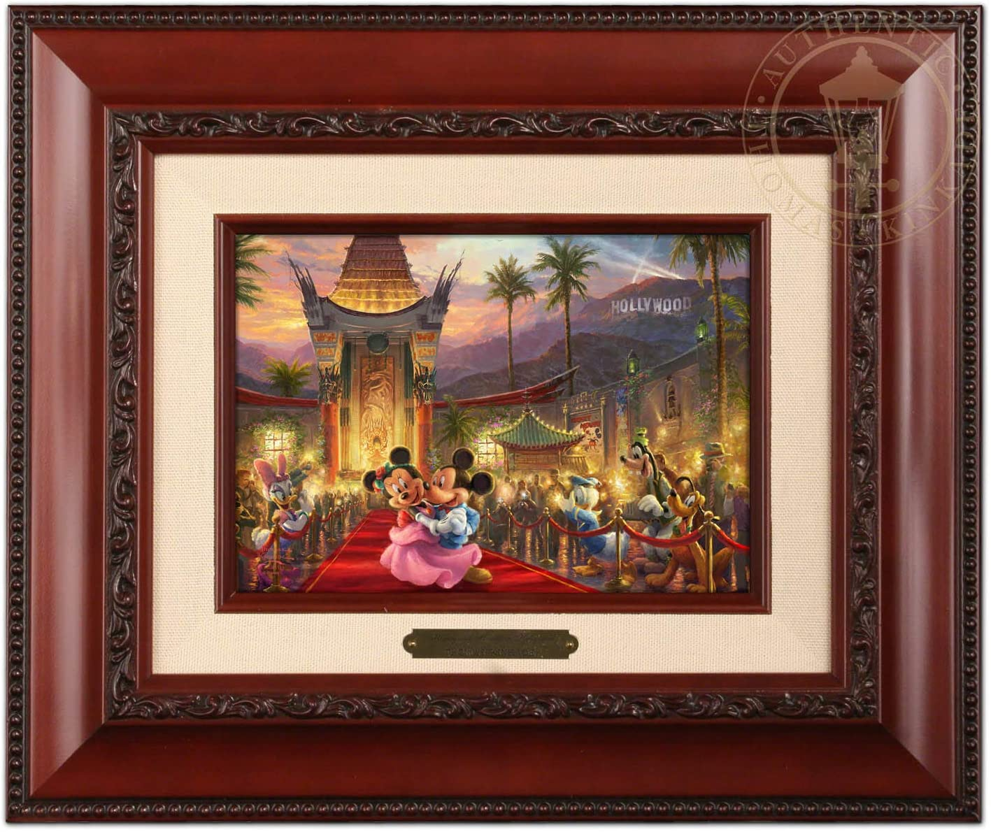 Thomas Kinkade Studios Disney Mickey and Minnie in Hollywood Brushwork (Brandy Frame)