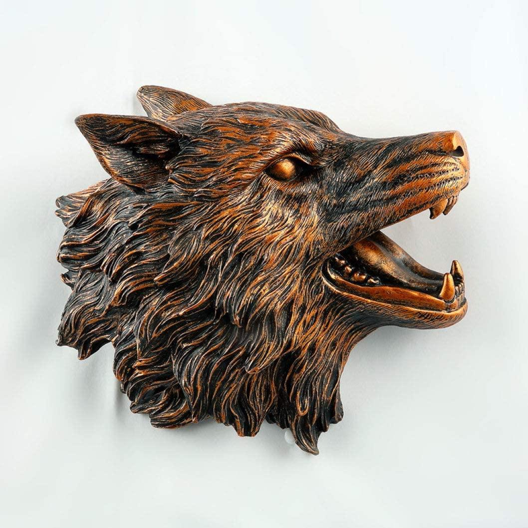 UKURO Wolf Head Statue Wall Art 3D Animal Head Figurines Wall Mural Hanging Ornament Home Living Room Bar Decoration