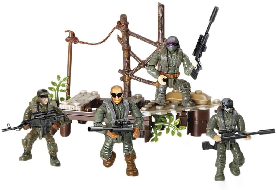 YEIBOBO ! Special Forces Mini Action Figure with Military Weapons and Accessories (Crossing Marsh XJ-995)