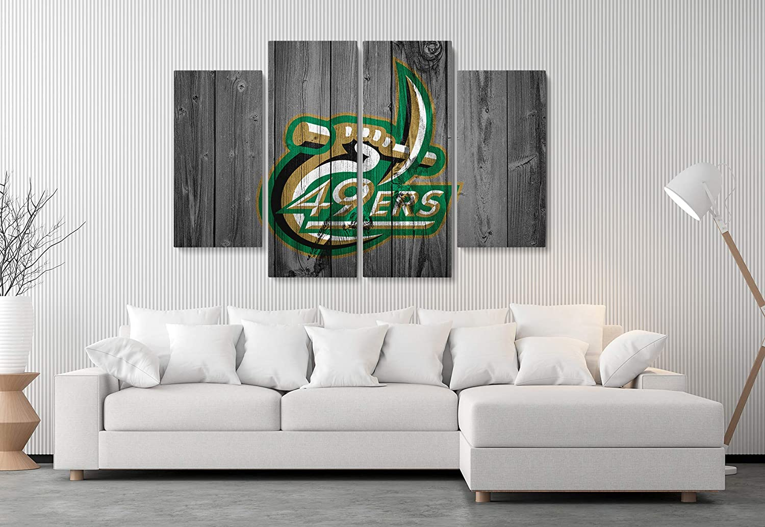 UNC Charlotte 49ERS American Football College University Team Art Decor Wall Poster Canvas Print. Ready to Hang. Made in USA (4 Piece Medium)