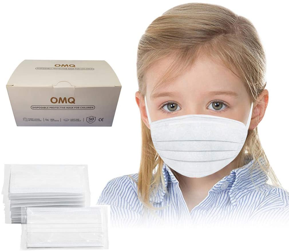 Ecnobia 3 Layer Disposable Face ṁɑşḱ, Individual Wrap, Protection, Breathable, with Comfortable Elastic Ear Loop, Non-Woven Fabric, for Kids (4-10 Years) - (White, 50Pcs)