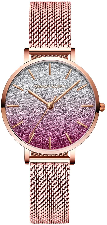 RORIOS Fashion Women Watches Elegant Girl Wrist Watch Analogue Quartz Watch Sweet Gradient Colors Style Mesh Strap Watch for Ladies