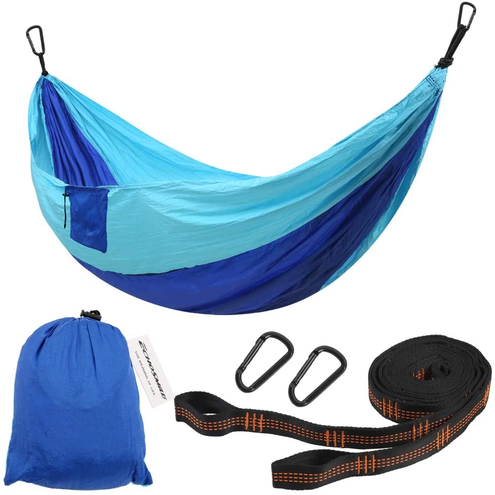 EchoSmile Orange/Blue Camping Hammock, Portable Hammocks with 2 Tree Straps, Ultra-Light Nylon 440lb Load Outdoor Hammocks, Quick-Drying Hanging Swing Parachute for Travel, Camping, Garden, Backyard