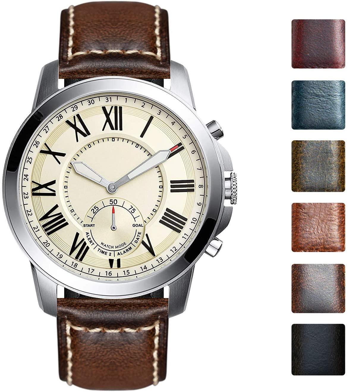 Watch Band Compatible with Fossil Q Venture Gen 5 Carlyle/Julianna/Gen 3 Explorist/Gen 4 Venture HR/Sport 41mm 43mm/Hybrid Smartwatch Vintage Oil Wax Leather Strap Replacement 18mm 22mm 24mm Wristband