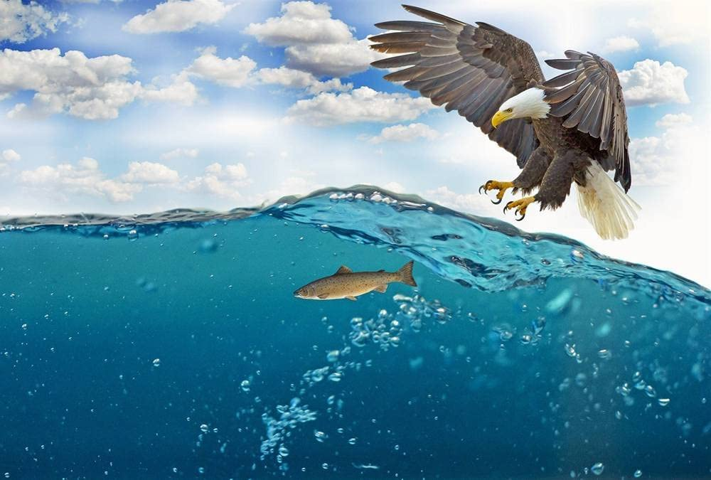 FHYGJD Eagle Want To Catch Fish Art Print Canvas Poster,Home Wall Decor(28x42 inch)