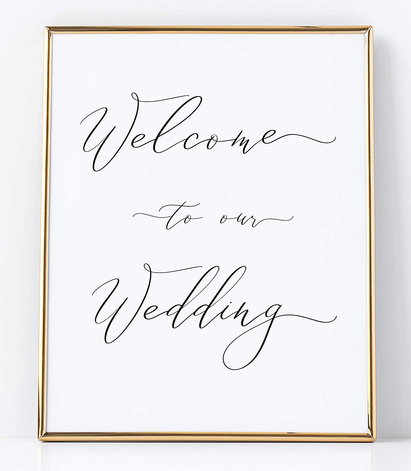 Welcome to Our Wedding Sign for Weddings White Sign Printed on Professional Thick Linen Cardstock White Wedding Decoration UNFRAMED Elegant Minimalist Style
