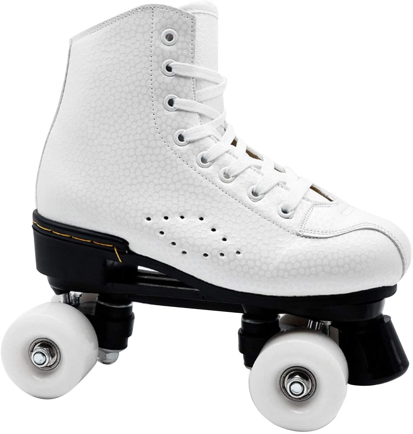 QSSM Roller Skates for Women PU Leather 4 Wheels Double Row Indoor Outdoor Roller Skate Shoes for Women Men Adult