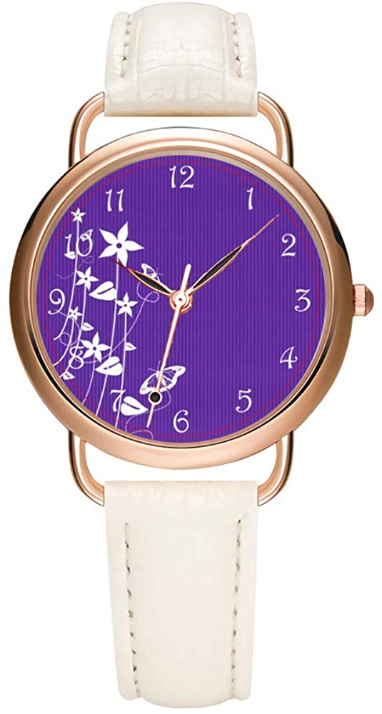 Women's Watches Brand Luxury Fashion Ladies Watch White and Black Leather Band Gold Quartz Wristwatch Female Gifts Clock Girly Purple Flower Watch