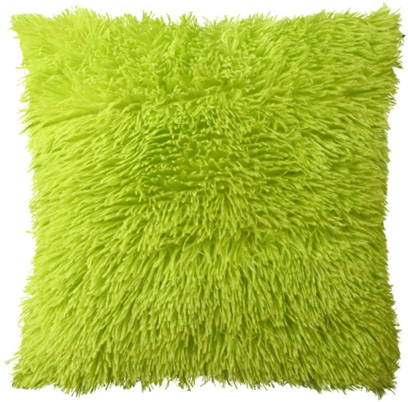 Plush Pillowcase Cushion Cover Sofa Lumbar Pillow Cover Home Decoration Solid Colorful Pillowcase