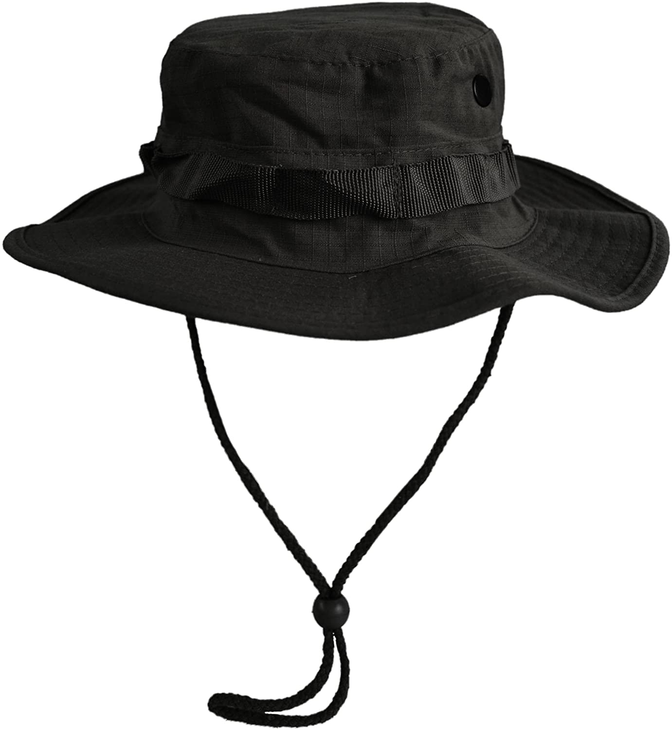 CamoOutdoor GI Ripstop Boonie Bush Jungle Army Hat Cap Black, Size S