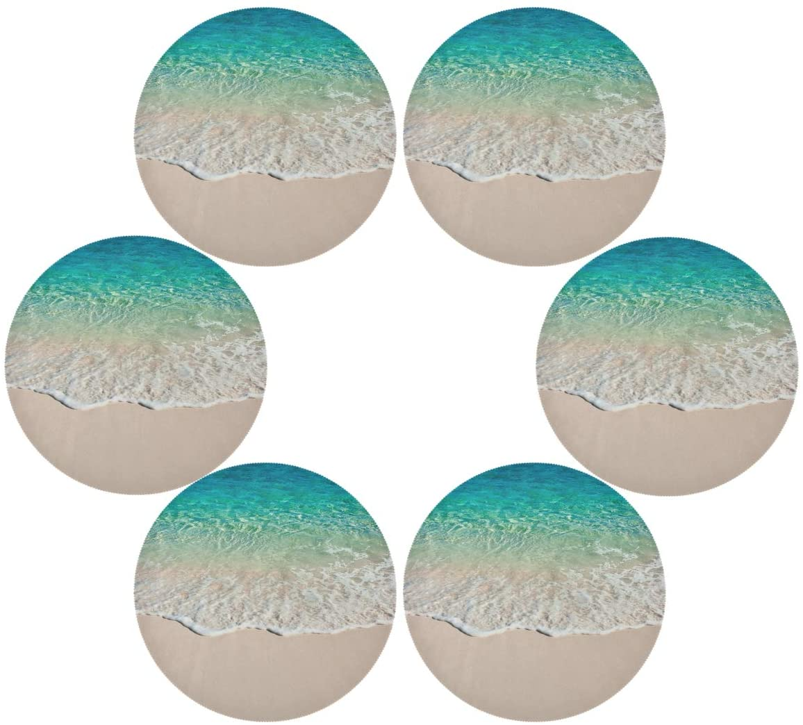 senya Wave of The Sea Round Place mats for Kitchen Dining Table Runner Heat Insulation Non-Slip Washable Fall Placemats Set of 6