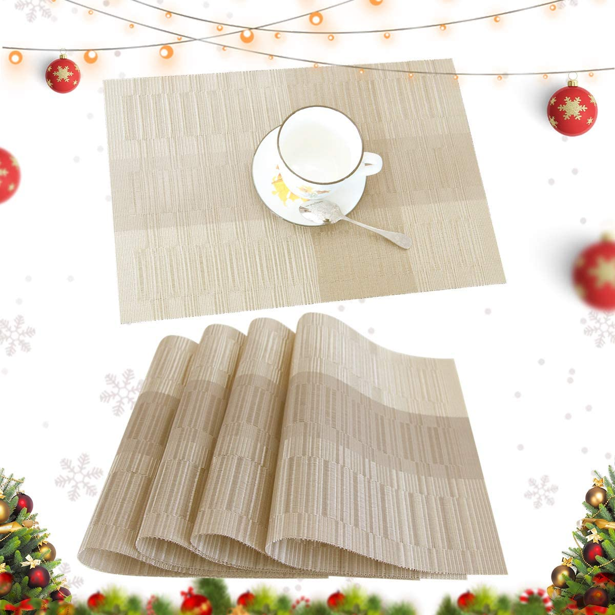 profurni Placemats for Dining Table Heat Resistant Kitchen Table Mats Set of 4 Washable PVC Place Mats Stain Resistant Non-Slip Placemat for Hotel Office,Khaki Gold