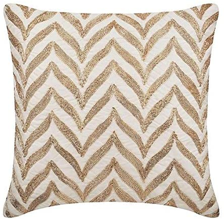 Decorative Pillows Cover White, Geometric Pillows Cover, 12x12 inch (30x30 cm) Throw Pillow Covers, Linen Throw Pillows Cover, Art Deco Geometric Pattern Zardozi - Golden Divide