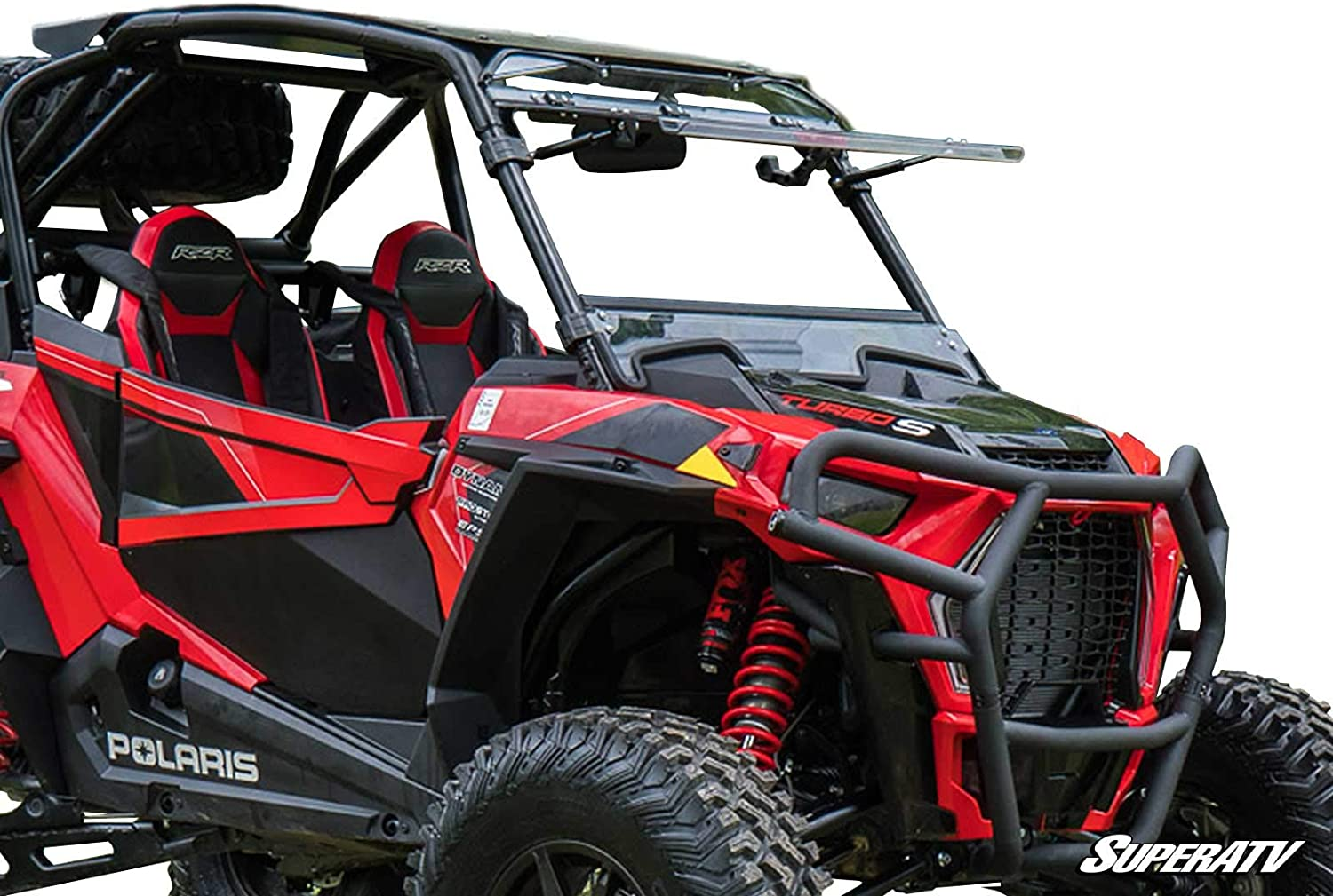 SuperATV Heavy Duty Scratch Resistant 3-IN-1 Flip Windshield for Polaris RZR XP Turbo S (2018+) - Has 3 Different Settings!