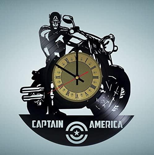 Captain America Marvel Comics vinyl wall clock - handmade artwork home bedroom living kids room nursery wall decor great gifts idea for birthday, wedding, anniversary - customize your (Gold/Black)