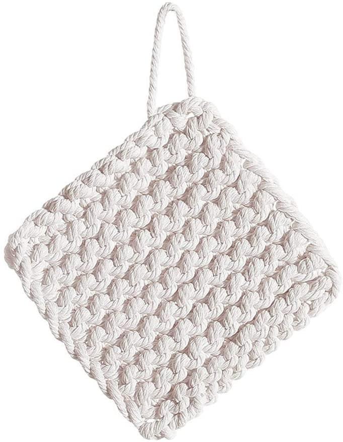 hbz11hl Coaster Cotton Hand Woven Non Slip Coaster Heat Insulation Kitchen Placemat Cup Pad Mat White S