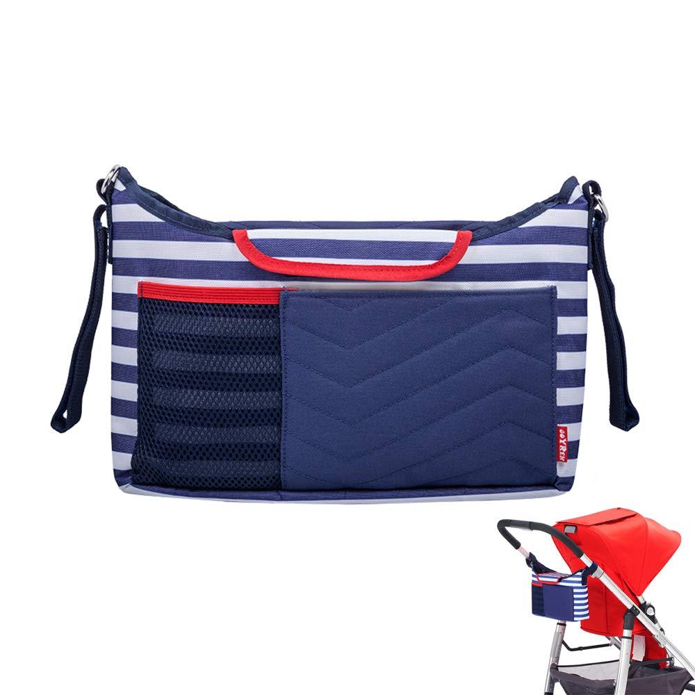 2 in 1 Baby Stroller Organizer, Terylene Kids Pushchair Storage Bag, Multi-Function Children Carriage Mommy Travel Shoulder Bag/Handbag/Pouch Case with Pilch