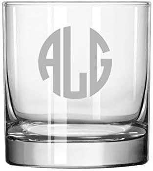 Engraved Rocks Whiskey Glass Monogram Custom Personalized
