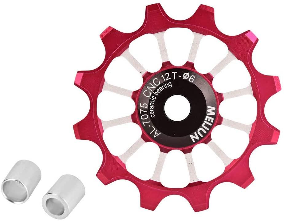 Tbest Bike Guide Wheel,12T Jockey Wheels Pulley MTB Road Mountain Bike Bicycle Rear Derailleur Pulley Roller Wheel Aluminum Alloy Ceramic Jockey Pulley Wheel for 7/8 / 9/10 Speed Bike